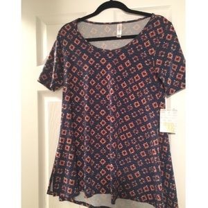 NWT LulaRoe Perfect Tee- Blue Geometric Pattern